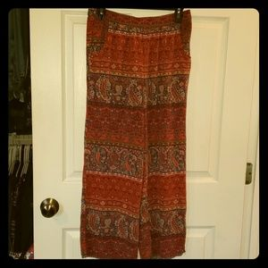 Red Navy Paisley Linen Pants